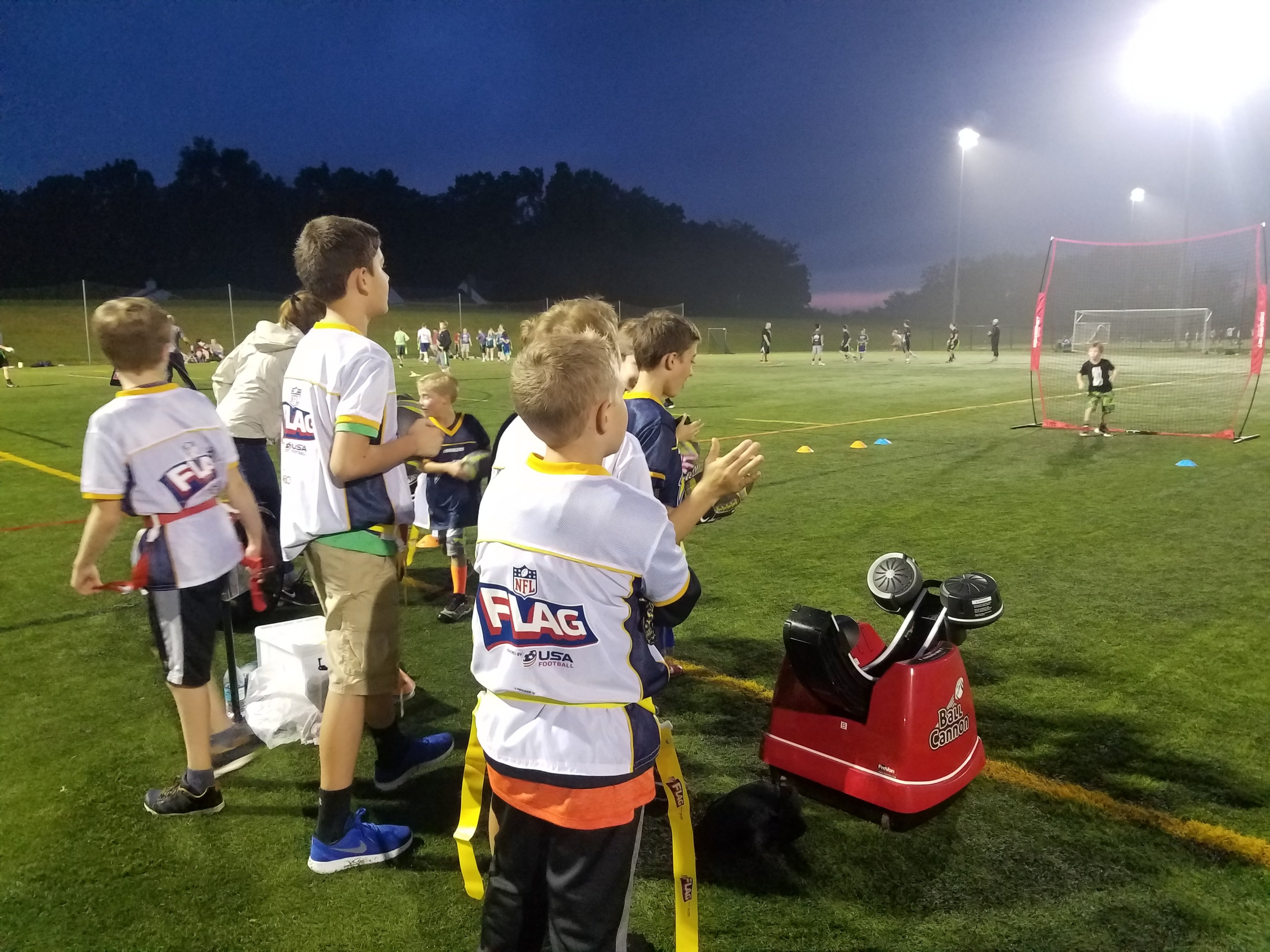 Ball Cannon at NFL Flag Football Practice