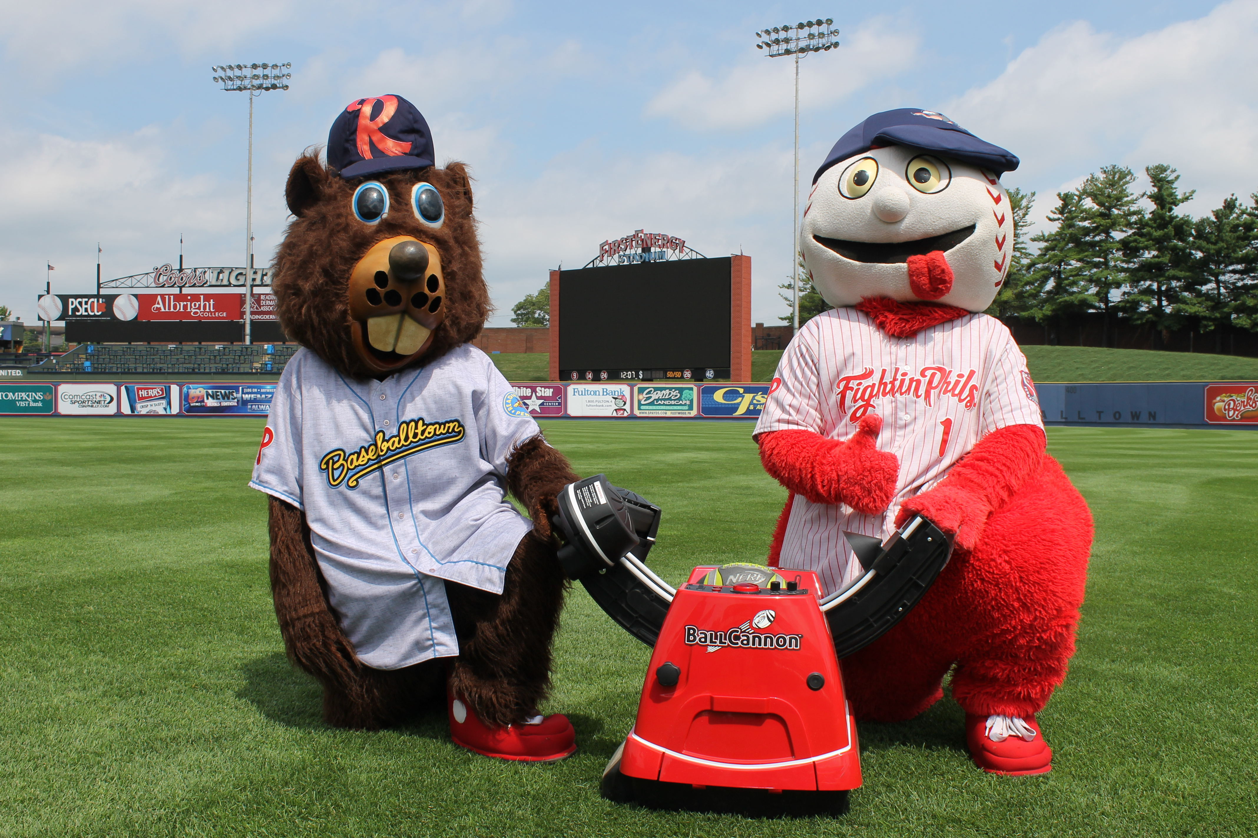 Fightin Phils Bucky and Screwball with the Ball Cannon!